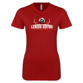Next Level Ladies SoftStyle Junior Fitted Cardinal Tee-Football Field