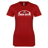 Next Level Ladies SoftStyle Junior Fitted Cardinal Tee-Football Top