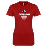 Next Level Ladies SoftStyle Junior Fitted Cardinal Tee-Basketball Net