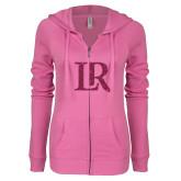 ENZA Ladies Hot Pink Light Weight Fleece Full Zip Hoodie-LR Hot Pink Glitter