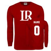 Cardinal Long Sleeve T Shirt-Primary Mark, Custom Tee w/ Name and #