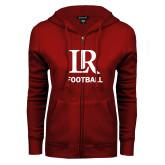 ENZA Ladies Cardinal Fleece Full Zip Hoodie-Football
