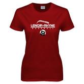 Ladies Cardinal T Shirt-Baseball Thread