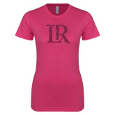 Ladies SoftStyle Junior Fitted Fuchsia Tee-LR Hot Pink Glitter