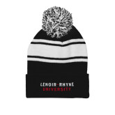 Black/White Two Tone Knit Pom Beanie w/Cuff-Lenoir Rhyne University