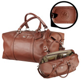 Cutter & Buck Brown Leather Weekender Duffel-Primary Mark  Engraved