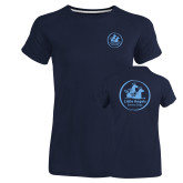 Ladies Russell Navy Essential T Shirt-Primary Mark
