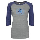 ENZA Ladies Athletic Heather/Blue Vintage Baseball Tee-Primary Mark