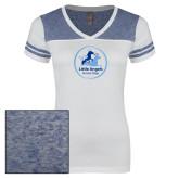 Ladies White/Heathered Royal Juniors Varsity V Neck Tee-Primary Mark