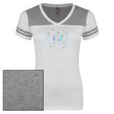 Ladies White/Heathered Grey Juniors Varsity V Neck Tee-Primary Mark  Foil
