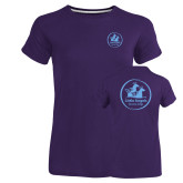 Ladies Russell Purple Essential T Shirt-Primary Mark