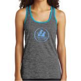Ladies Grey/Neon Blue Heather Performance Tank-Primary Mark