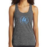 Ladies Grey/Black Heather Performance Tank-Primary Mark