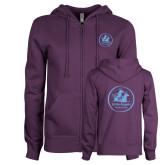 ENZA Ladies Purple Fleece Full Zip Hoodie-Primary Mark
