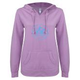 ENZA Ladies Hot Violet V Notch Raw Edge Fleece Hoodie-Primary Mark