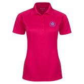 Ladies Pink Raspberry Dry Mesh Pro Polo-Primary Mark