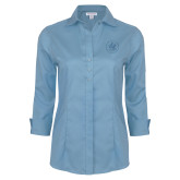 Ladies Red House Light Blue 3/4 Sleeve Shirt-Primary Mark