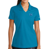 Ladies Nike Golf Dri Fit Teal Micro Pique Polo-Primary Mark