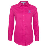 Ladies Tropical Pink Long Sleeve Twill Shirt-Primary Mark