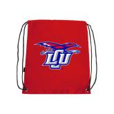 Red Drawstring Backpack-Interlocking LCU w/ Chaparral
