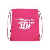 Pink Drawstring Backpack-Interlocking LCU w/ Chaparral