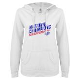 ENZA Ladies White V Notch Raw Edge Fleece Hoodie-2019 Womens Basketball National Champions