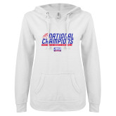 ENZA Ladies White V Notch Raw Edge Fleece Hoodie-2019 Womens Basketball NCAA DII National Champions