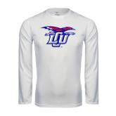 Performance White Longsleeve Shirt-Interlocking LCU w/ Chaparral