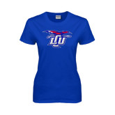 Ladies Royal T Shirt-Interlocking LCU w/ Chaparral Distressed