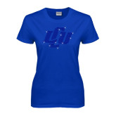 Ladies Royal T Shirt-Interlocking LCU Rhinestones