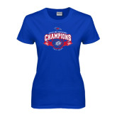 Ladies Royal T Shirt-Basketball Conference Champs Ribbon