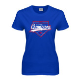 Ladies Royal T Shirt-2016 Heartland Conference Champions Softball