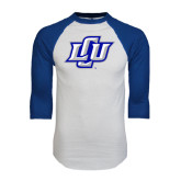 White/Royal Raglan Baseball T Shirt-Interlocking LCU