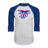 White/Royal Raglan Baseball T Shirt-Interlocking LCU w/ Chaparral