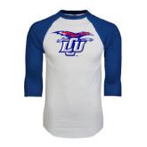 White/Royal Raglan Baseball T Shirt-Interlocking LCU w/ Chaparral Distressed