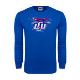 Royal Long Sleeve T Shirt-Interlocking LCU w/ Chaparral Distressed