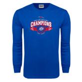 Royal Long Sleeve T Shirt-Basketball Conference Champs Ribbon