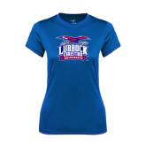 Ladies Syntrel Performance Royal Tee-Lubbock Christian University - Offical Logo