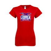 Next Level Ladies SoftStyle Junior Fitted Red Tee-Lubbock Christian University - Offical Logo