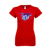 Next Level Ladies SoftStyle Junior Fitted Red Tee-Interlocking LCU w/ Chaparral