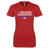 Next Level Ladies SoftStyle Junior Fitted Red Tee-2019 Womens Basketball NCAA DII National Champions