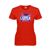 Ladies Red T Shirt-Lubbock Christian University - Offical Logo