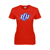 Ladies Red T Shirt-Interlocking LCU