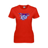 Ladies Red T Shirt-Interlocking LCU w/ Chaparral