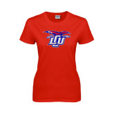 Ladies Red T Shirt-Interlocking LCU w/ Chaparral Distressed