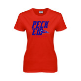 Ladies Red T Shirt-Peck Em Stacked