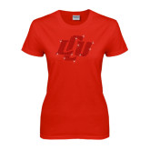 Ladies Red T Shirt-Interlocking LCU Rhinestones
