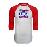 White/Red Raglan Baseball T-Shirt-Lubbock Christian University - Offical Logo