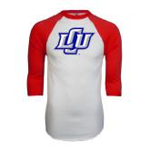 White/Red Raglan Baseball T-Shirt-Interlocking LCU