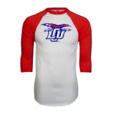 White/Red Raglan Baseball T-Shirt-Interlocking LCU w/ Chaparral Distressed